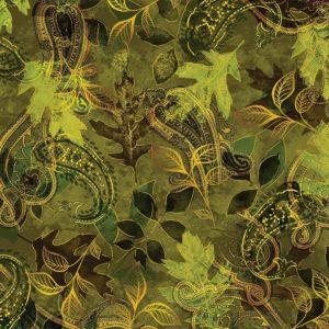 Harvest Paisley Leaf Green Fabric