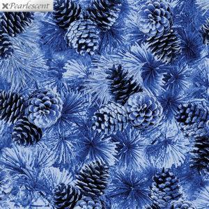 Pearl Pine Cones Cobalt Fabric