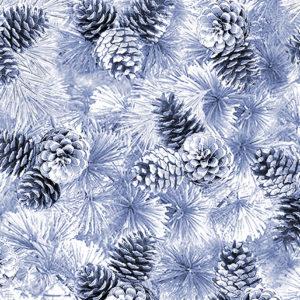 Pearl Pine Cones Lt Blue Fabric
