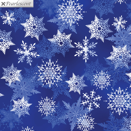Pearl Snowflake Colbalt Fabric