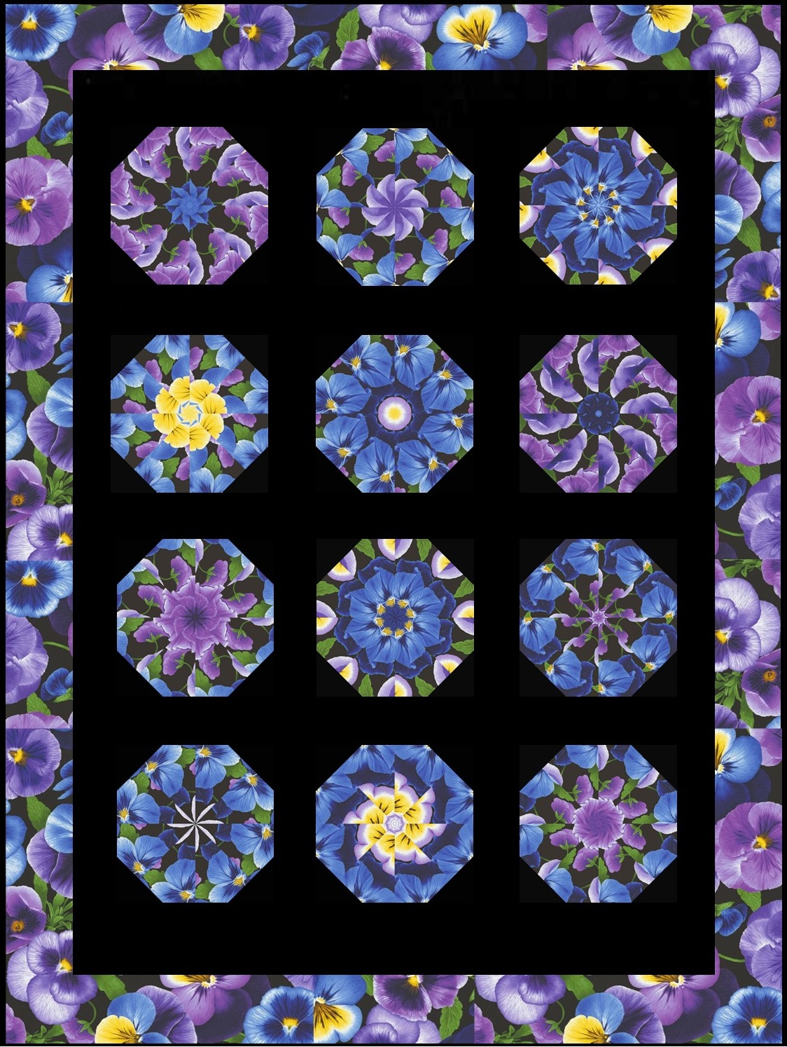Large Pansy Complete Quilt