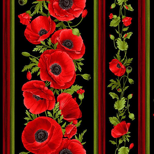 wild poppy border print